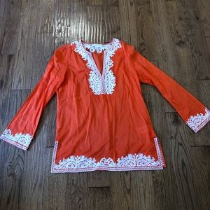 Michael kors orange embroidered tunic size m